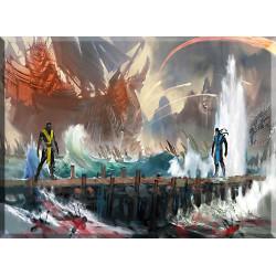 Batalla campal cuadro lienzo