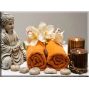 Buda y flor relajación