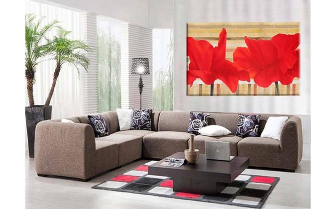 Amapolas en rojo fondo abstracto
