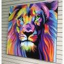 Gran obra de arte León pintado 120x120 cm