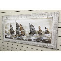 barcos de vela pintados a mano