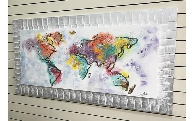 Mapa del mundo pintado 70x140 cm