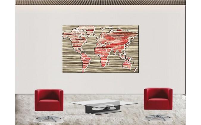 Mapa rojo en madera-24513