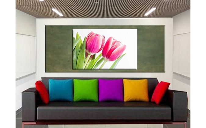 9516-Par de tulipanes rosa flameado