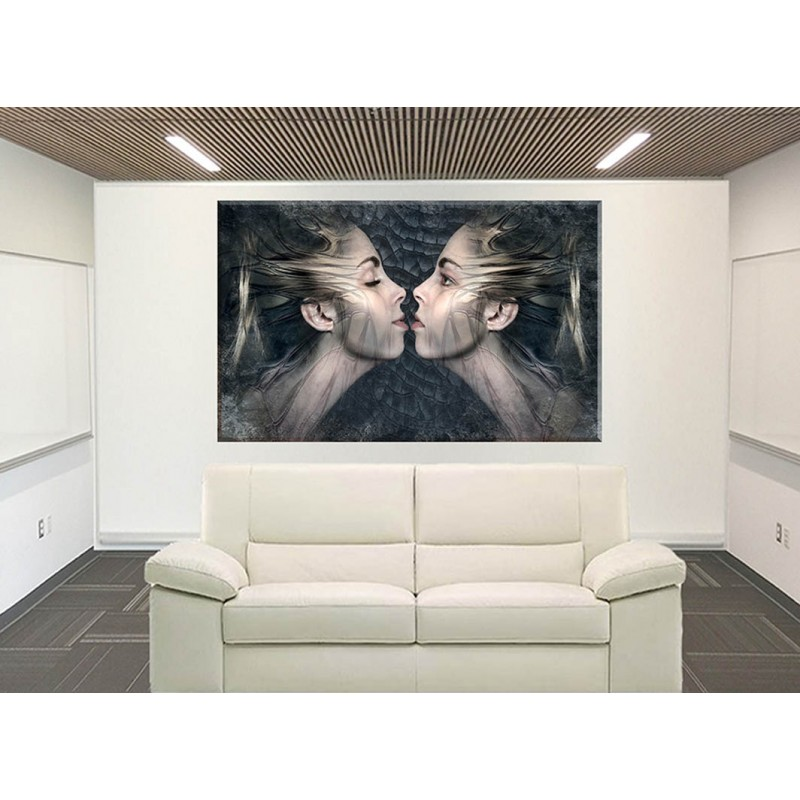 75017-Fantasía Gemelos Beso Componer Sensual Mujer cuadrolienzo ...