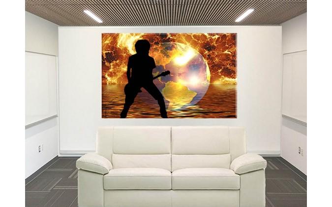 42050-Tierra Globo El Agua Fuego Llama Guitarra