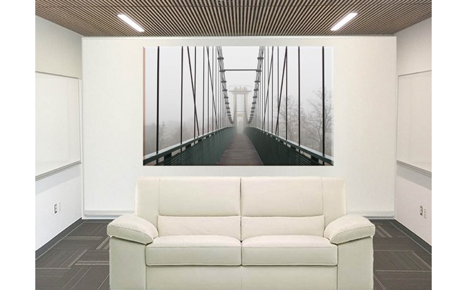 20545-Puente Pasarela Cuerda Barandilla La Niebla Haze_