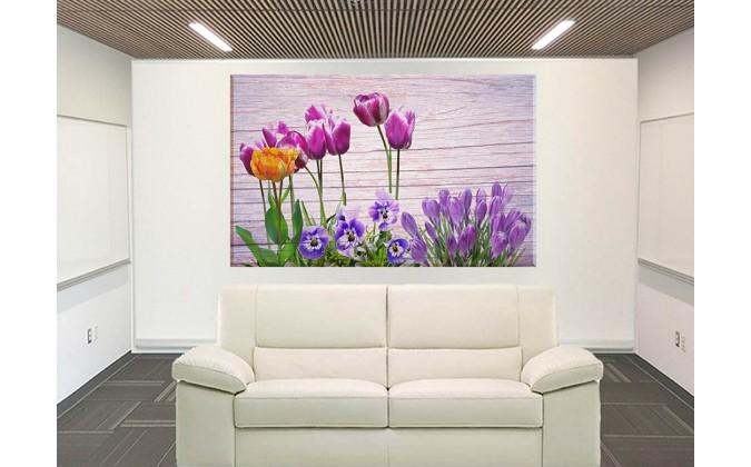 9547-Tulipanes violeta sobre madera